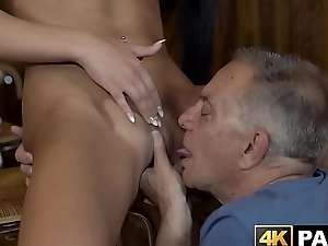 Naughty vixen seduces and rides old mans detect in a bar