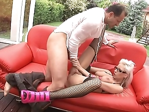 Lady's man cums on Alexis'_ pink high heels after giving her drilling on couch on patio