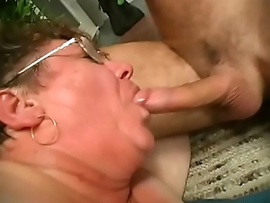 Granny gets jizz vulnerable her glasses